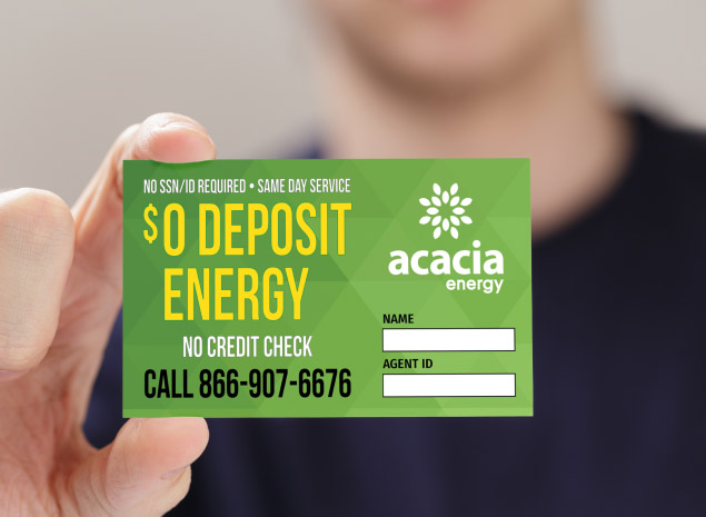 Referral Agent Holding Business Card Acacia Energy TX